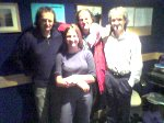 Band members at Radio Caroline. Left to right: Rob Gould, Fiona Ford, Nigel Moss and presenter Rob Leighton